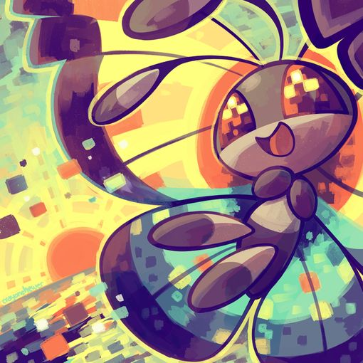 vivillon. I'm not a fan of this pokemon but this is a cute picture.