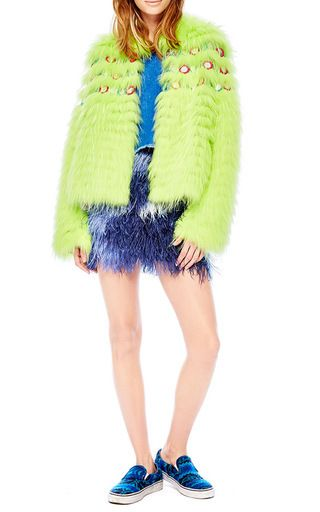 Embellished Asian Raccoon Fur Jacket by MATE OFFICIAL for Preorder on Moda Operandi