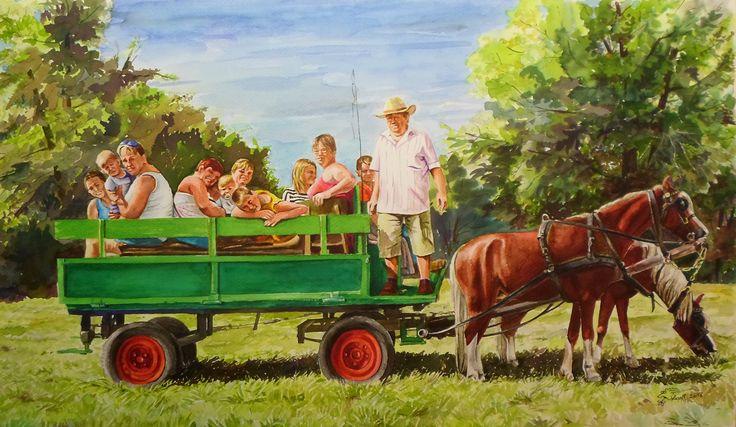 Győrszentiváni Szüreti Nap 2016 Ponty Jánosék Akvarell 64cmx38cm