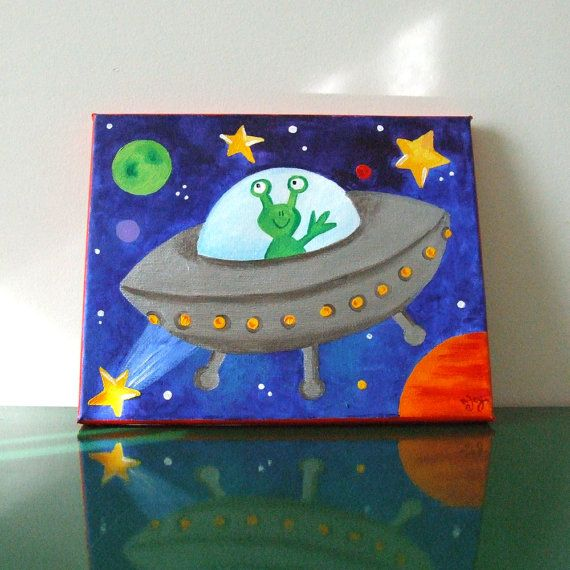 Art for Kids Rooms FLYING SAUCER 8x10 Acrylic Canvas by nJoyArt, $45.00