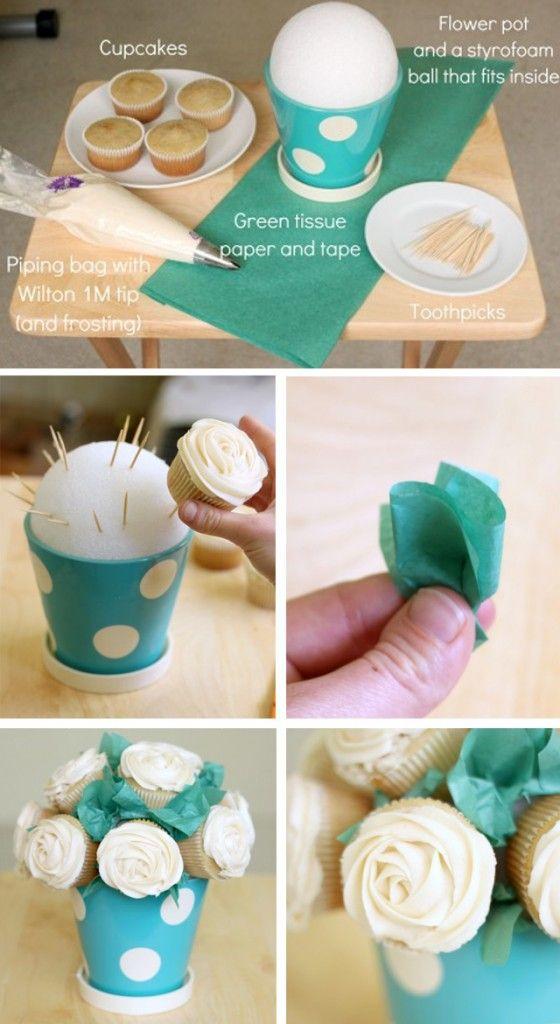Materiales para hacer bouquets de cupcakes