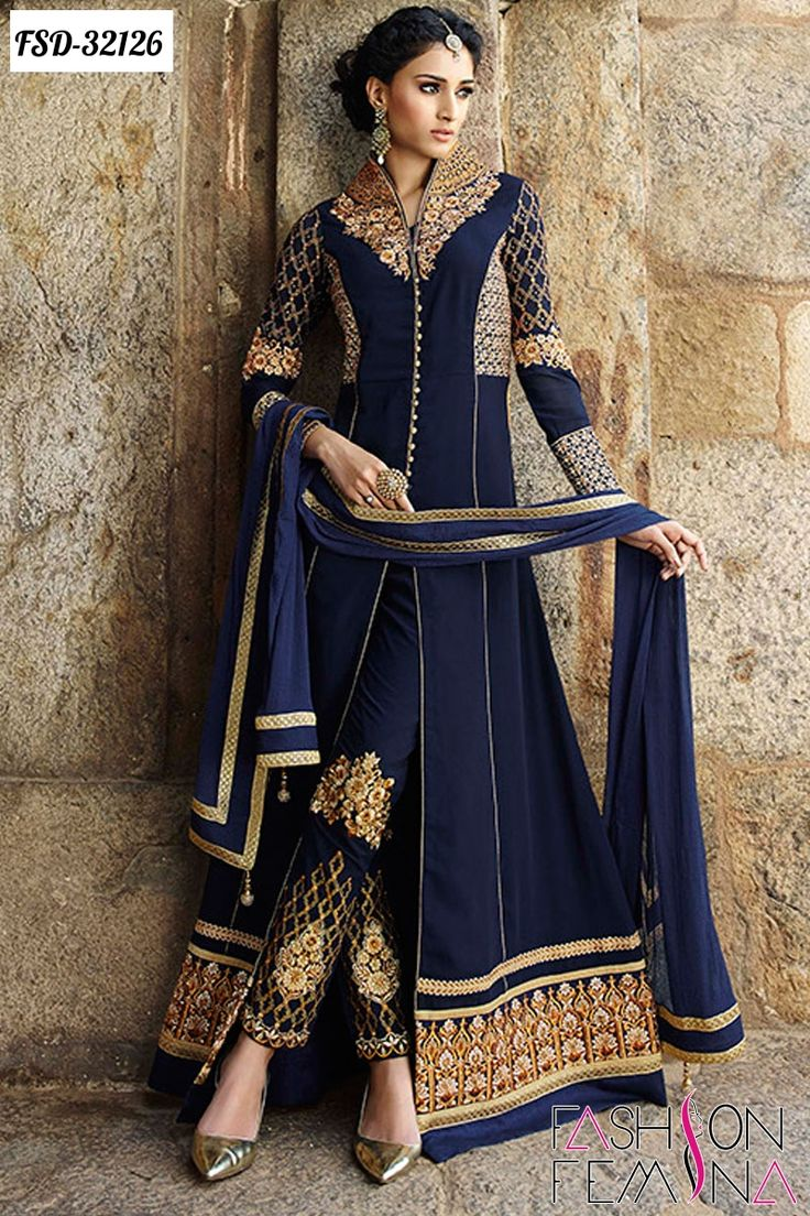 Z Fashion Trend: BLUE EMBROIDERED PANT STYLE FLOOR LENGTH ANARKALI