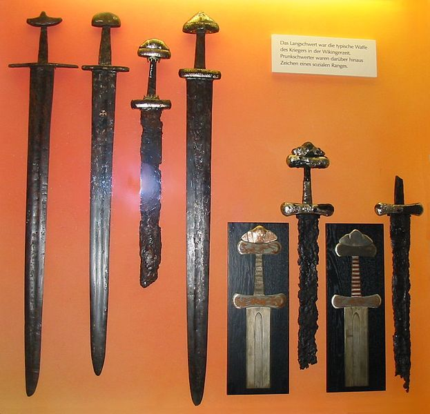 Because iron was hard to dig out of the ground, weapons could be costly. Only the richest Vikings would own the complete set of available weaponry: sword, sax (a short sword), axe, spear, bow and arrows, shield, helmet and chainmail. Poorer Vikings would carry an axe or a spear and a shield. Even the poorest Vikings had access to the ax he used at the farm.The most expensive weapon was the sword, as it took the most iron to make. Rich men owned swords, the most prestigious weapon.