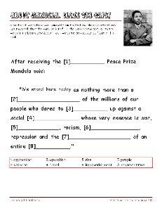 Free Nelson Mandela Vocabulary Worksheets, #Education #Homeschool #Mandela #Freebies  #SouthAfrica