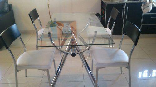 Juego De Mesa Y Sillas Simet(vidrio Templado Y Aluminio) - $ 5.900,00
