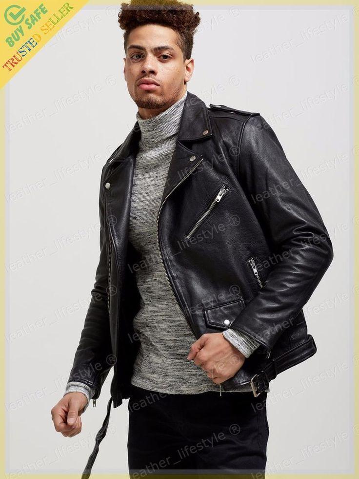 New Men's Genuine Lambskin Leather Jacket Black Motorcycle Jacket 2XS-3XL MJ07 #LeatherLifestyle #Motorcycle #PerfectforMotorcycleandWinter