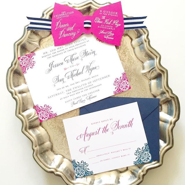 Hot pink is a definite trend for us this year! This beautiful invite featured our most popular hot pink bow too that we first did for the @waitingonmartha Kate Spade Bridal feature. #wedding #weddinginvitations #custom #customdesign #bowties #abigailcdesigns #abigailchristinedesign #foil #thermography #customweddinginvitations