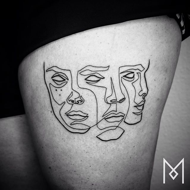 Linear Tattoos by Mo Ganji – Fubiz Media Line Drawing Tattoos, One Line Tattoo, Single Line Tattoo, Tattoo Drawings, Body Art Tattoos, Cool Tattoos, Maori Tattoos, Tatoos, Tattoo Linework