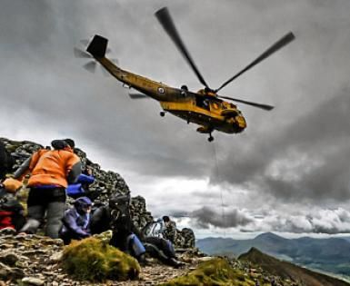 Climbing Head Injury Symptoms Checklist: Don't be afraid to call for rescue if your partner has a serious head injury. A helicopter rescues an injured climber on Mount Snowdon in Wales.