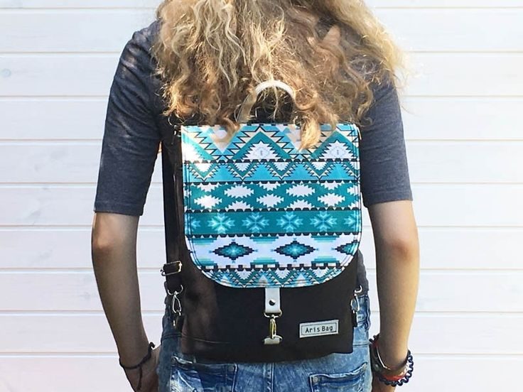 Handmade Canvas Backpack - Aztec Design