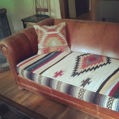 Refurbished couch cushion from a Mexican blanket.