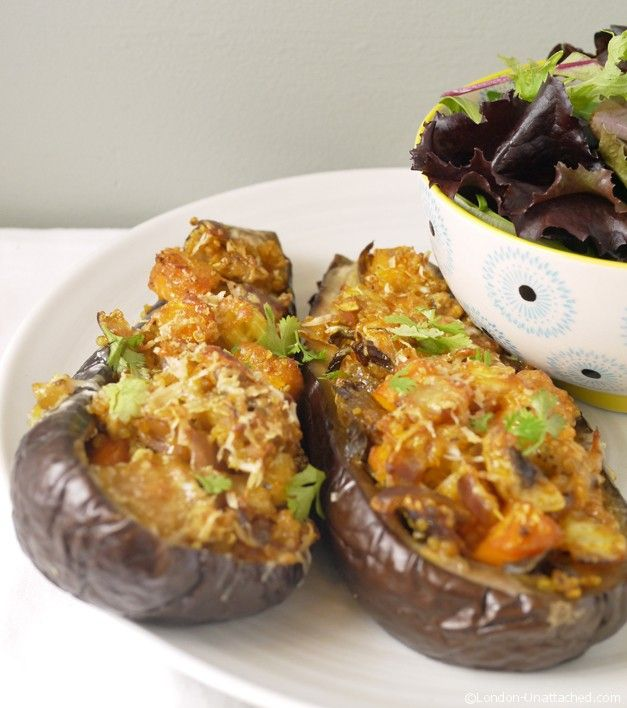 Stuffed Aubergine for a Vegetarian 5-2 diet day