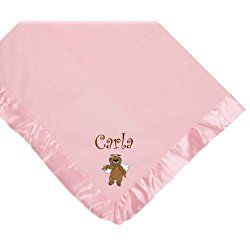 Angel Bear Pink Soft Fleece Embroidered Personalized Baby Blanket - Custom Embroidery Hot Pink Thread