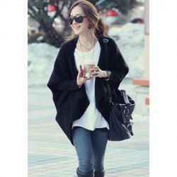 $10.89 Draped Collar Open Front Batwing Sleeve Cardigan For Women