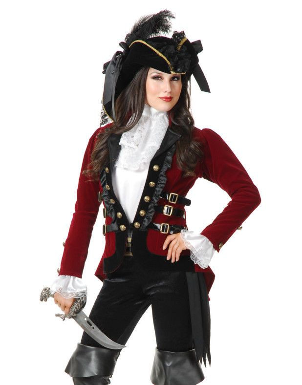 Womens Sultry Pirate Lady Wine And Black Velvet Captain Costume Jacket Coat #JacketsCoatsCloaks