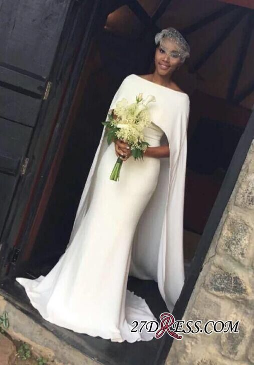 Off The Shoulder Cape Shealth Elegant Bridal Gown 2017 Wedding Dresses High Quality