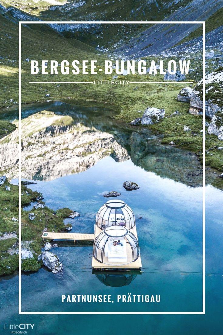 Bergsee Bungalow auf dem Partnunsee im Prättigau, Graubünden in den wunderschönen Schweizer Bergen  #mountain #cabin