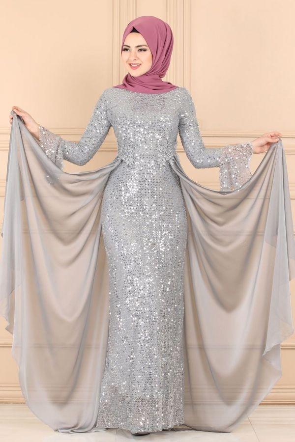 Modaselvim Abiye Pul Payetli Balik Abiye Pn2028 Gri Fashion Dresses Hijab Evening Dress Hijab Wedding Dresses
