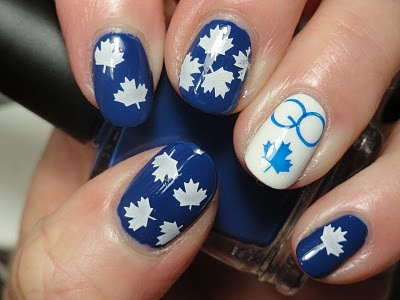Leaf fans are lucky because any nail stamping plate with a Canadian flag will work for them