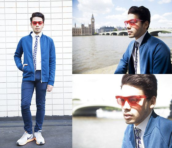 Get this look: http://lb.nu/look/6208665  More looks by Ronan Summers: http://lb.nu/thewildswans  Items in this look:  Burberry Wave Clear Sunglasses, Reiss Bomber Jacket, Burberry Tie, Nike Lunar Trainers   #burberry #ootd #chic #fashion #smart #casual