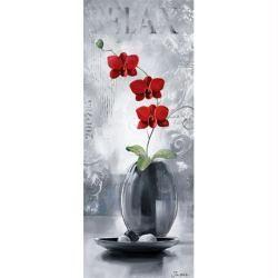 Image 3D Fleur - Orchidée rouge - droite triptyque 20 x 50 cm