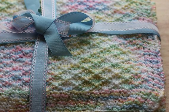 Hand Knitted Baby Blanket Variegated Yarn Soft and Warm