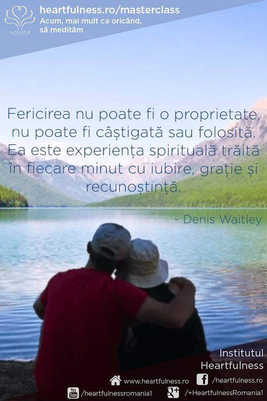 Fericirea nu poate fi o proprietate, nu poate fi câștigată sau folosită. Ea este experiența spirituală trăită în fiecare minut cu iubire, grație și recunoștință. ~ Denis Waitley #heartfulness #masterclass_meditatie #cunoaste_cu_inima