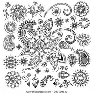 Этническая Менди татуировки хной Doodle Пейсли Цветы Вектор Элементы - Shutterstock изображения
