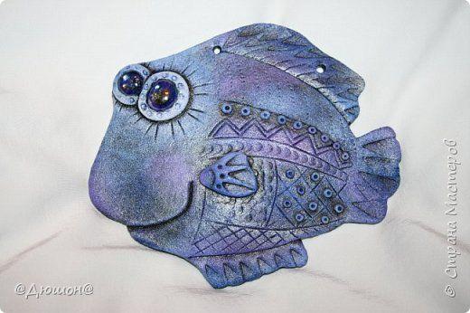 Картина панно рисунок Лепка совушки и рыбки  Тесто соленое фото 5