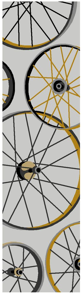 Sonesta 2035 Grey Wheels In Motion Novelty Runner Rug is a fun bicycle wheel rug and makes a perfect affordable gift for the biker in the family as well as complimenting any kitchen island, bathroom or high traffic areas of your home.