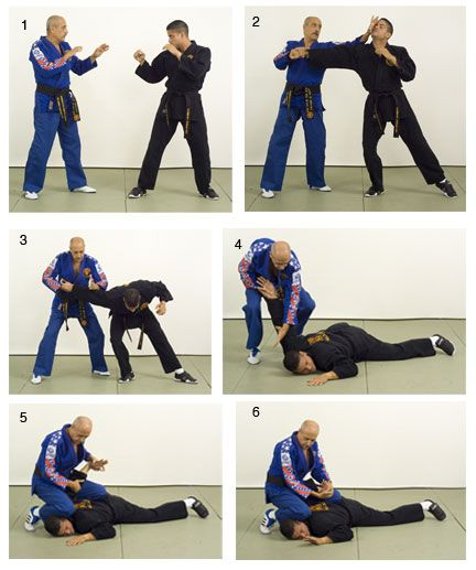 Combat hapkido founder John Pellegrini performs an armbar takedown and s-lock.