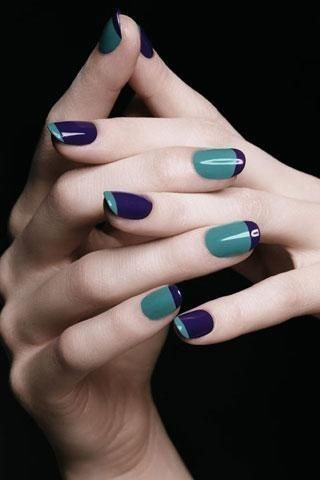 Solid Colours, Inverse French Manicure Reversing colours every other nail