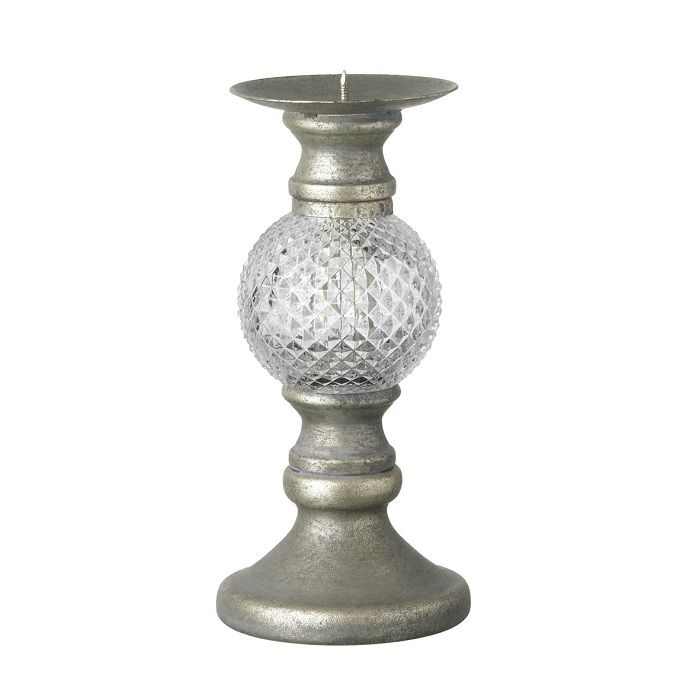 Parlane Savara Antique Silver Candle Holder: A classic style candle holder with antique silver footer and candle base - held with a decorative glass shaped globe.