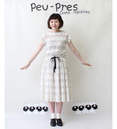 【予約販売】○ダチョウオパール 切替フリルワンピース