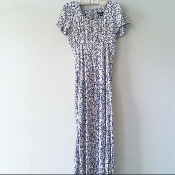 Vintage short sleeve floral maxi dress  All by AriettaVintageShop
