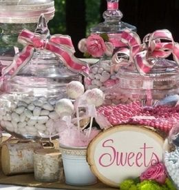 Don't forget the ribbon on Apothecary Jars & Glass Bell Jars for your candy buffet Save On Crafts