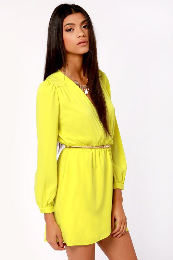 That's a Wrap Neon Yellow Long Sleeve Dress at LuLus.com...love the style...