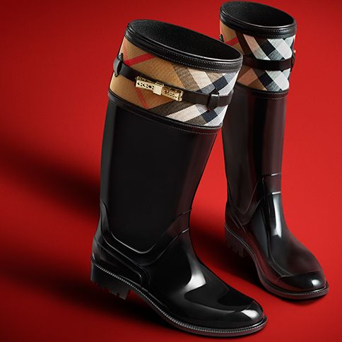 Patent weatherproof rainboots with check trim from Burberry for A/W13