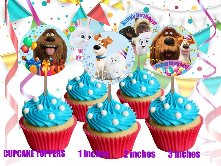 The Secret life of Pets Cupcake Toppers 1 INCH 2 Inches 3 Inches Round Images…