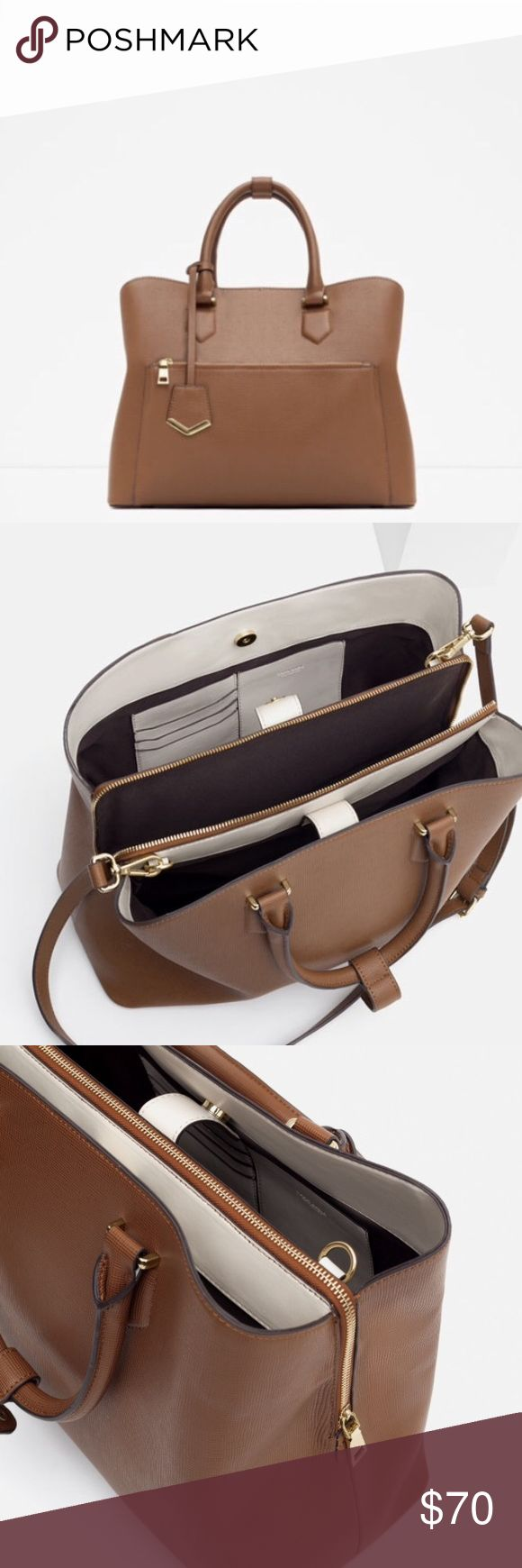 Zara Office City Bag Brown Zara Bags Shoulder Bags