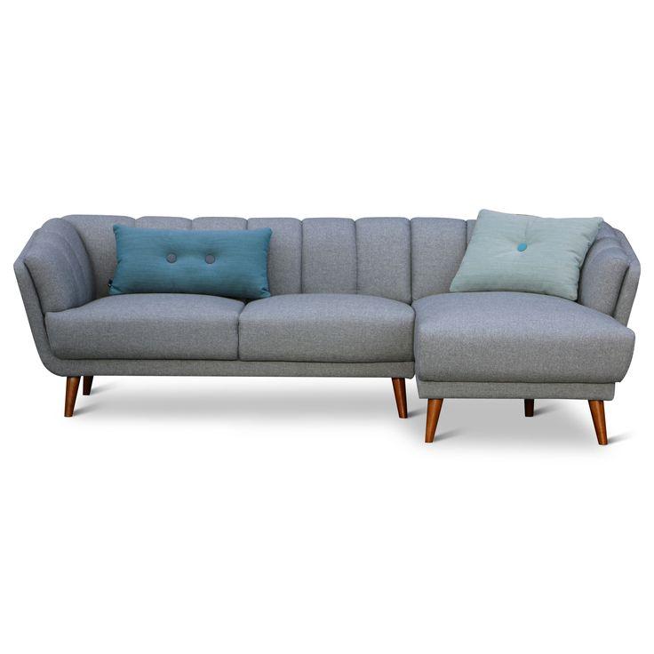 Design Retro 3-zits Bank Loop Met Longchair Grijs    Design meubelen en de laatste woontrends