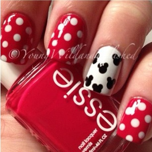 Cool red black and white nails