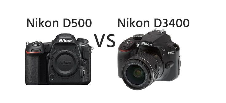 Nikon D500 vs Nikon D3400 Comparison   https://dslrcamerasearch.com/nikon-d500-vs-nikon-d3400-comparison/ Here we compare two Nikon dslr camera models that are both released in the same year. The Nikon D500 is relatively larger than the other common Nikon ...  https://dslrcamerasearch.com/nikon-d500-vs-nikon-d3400-comparison/