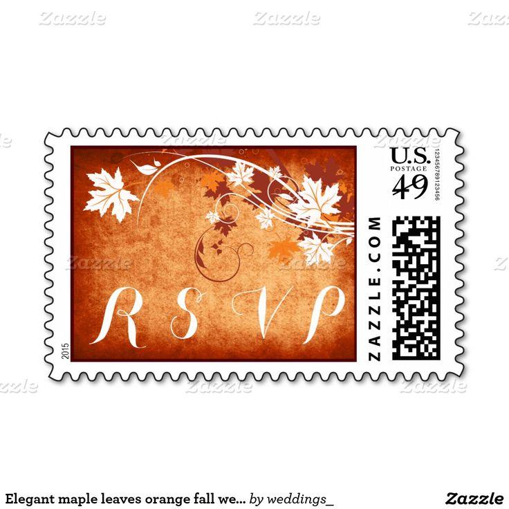 Elegant maple leaves orange fall wedding RSVP Postage