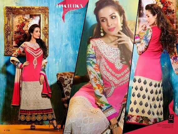 Ethnically designed Party wear Straight cut Pink and Off-White Georgette Salwar suit with Beautiful thread and Stone work and Karachi Laces on the hemline and Sleeves. Matching Santoon Bottom and Chiffon Duppatta included.
