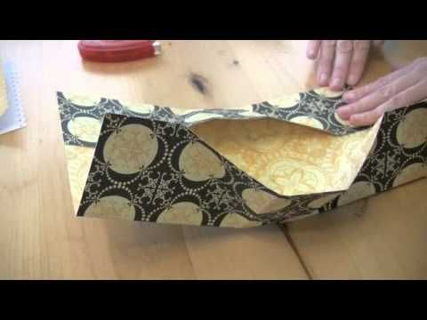 How to fold a gift bag from a 12x12 cardstock sheet.