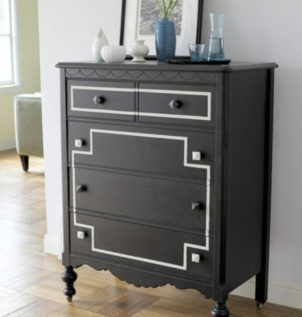 couple of coats of black latex enamel paint with a roller. Add a few accents in a different color and replace the hardware and you have a piece that looks brand new-Via: Myhomeideas – Go Dark and Dramatic.