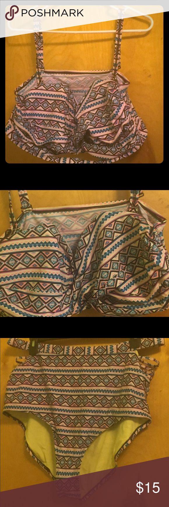 PLUS SIZE Aztec Print Bikini Gently used two piece bikini. Great condition | underwire in the top Swim