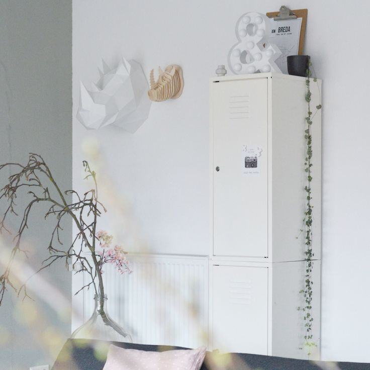 Lockerkast ikea ps collectie, oude gistfles, magnolia tak, diy ...