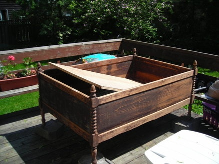 "Cool idea for an old bed.  Can you say ""garage sale""?"